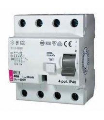Реле диференційне (УЗО) ETI, EFI6-4 40/0,03 тип AC (6kA)