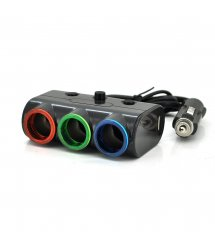 АЗУ разветвитель Olesson 1523, 12V-3*12V+2*USB, Black, Blister