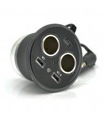 АЗУ разветвитель Olesson 1515, 12V-2*12V+2*USB, Black, Blister