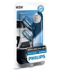 Лампа накаливания Philips W5W WhiteVision, 2шт/блистер