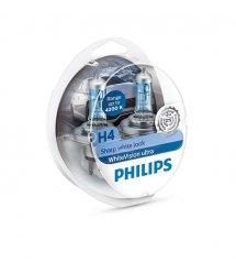 Лампа галогена Philips H4 WhiteVision Ultra +60%, 4200K, 2шт/блистер