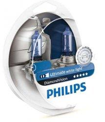 Лампа галогенна Philips H4 Diamond Vision, 5000K, 2шт/блістер