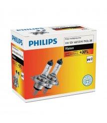 Лампа галогенная Philips H4 Vision, 3200K, 2шт/картон