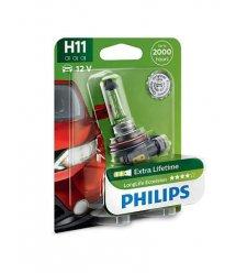 Лампа галогенна Philips H11 LongLife EcoVision, 1шт/блістер