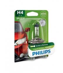 Лампа галогенна Philips H4 LongLife EcoVision, 1шт/блістер