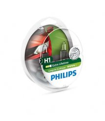 Лампа галогенна Philips H1 LongLife EcoVision, 2шт/блістер