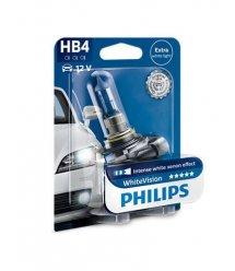Лампа галогенна Philips HB4 WhiteVision +60%, 3700K, 1шт/блістер