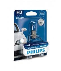 Лампа галогенна Philips H3 WhiteVision +60%, 3700K, 1шт/блістер
