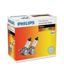 Лампа галогенная Philips H7 Vision, 3200K, 2шт/картон
