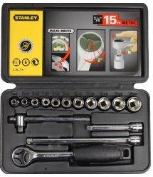 """Набір головок торцевих 1/4"""" Stanley з приводними і сполучними частинами 15 предметів"""