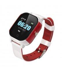Дитячий телефон-годинник з GPS трекером GOGPS К23 білий з червоним