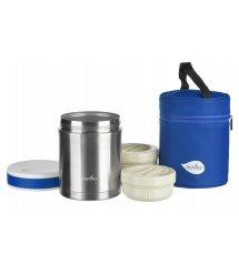 Термос металевий для їжі Nuvita 1000 мл, 2 контейнера, нерж. сталь, з термосумкою NV1478Pro