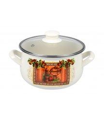 Каструля Ardesto Italian Gourmet, скляна кришка, 2.5 л, айворі, емальована