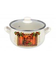 Каструля Ardesto Italian Gourmet, скляна кришка, 3.5 л, айворі, емальована