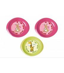 Набор тарелочек Nuvita 6м+ 3шт. мелкие Розовые и Салатовая NV1428Pink