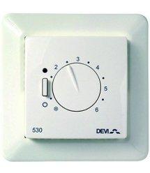 Терморегулятор DEVIreg 530, (+5+45С), механический, датчик на проводе 3м, 85 х 85мм, макс. 15A, белый