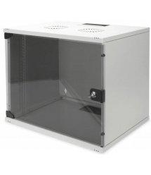 """Шафа DIGITUS 19"""" 9U 540x400, скл.двері, 60kg max, сірий колір"""