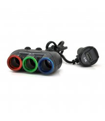 АЗУ разветвитель+ вольтметр Olesson 1633, 12V-3*12V+USB, Black, Blister