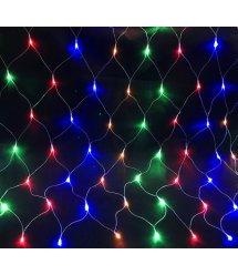 Гирлянды 100LED (Сетка) Red / Green / Blue / Yellow, 1,5*1,5 метрa, прозрачная изоляция, BOX