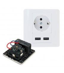 Розетка врезная, Input: AC 100-250V 16A, 2-USB- выхода, White