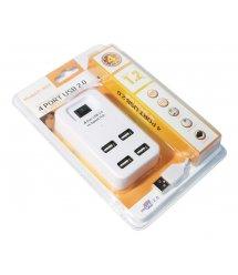 Хаб USB 2.0 4 порта, White, 480Mbts питание от USB, с выключателем, Blister Q200