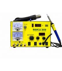 Паяльная станция BAKKU BK-909 цифровая индикация, паяльник + фен, с встроен. БП 0-15В 1А (320*298*238) 4,8 кг