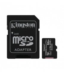 Карта памяти Kingston 64GB microSDXC C10 UHS-I R100MB/s + SD