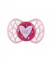 "Пустышка симметрическая Nuvita NV7065 Air55 Cool 0m+ ""LOVE"" розово-персиковая"