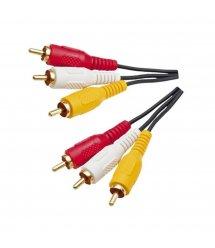 Кабель Audio-Video 3хRCA (папа)-3хRCA (папа), GOLD connector CU 5м Black