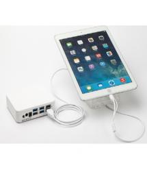 Защита витринная для IPHONE-IPAD на 6 портов, пульт, зарядное устройство, БП, подставки 6 штук, кабель Lighting + Alarm Sensor
