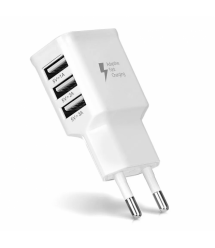 СЗУ ADJ-435 110-240V, 3xUSB, 5V - 2A, White , Blister-box