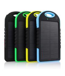 Power bank 5000 mAh Solar, (5V / 200mA), 2xUSB, 5V / 1A / 1A, USB - microUSB, влаго / ударо защищеный прорезиненный корпус, ка