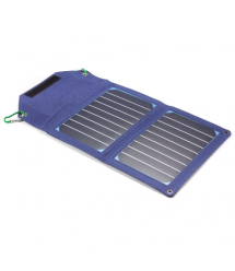 Power bank 8000 mAh Solar, 2xUSB, 5V / 1A / 2,1A, USB - microUSB, ударо защищеный прорезиненный корпус, Blue