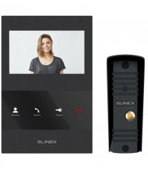 Комплект видеодомофона Slinex SQ-04 Black + Вызывная панель Slinex ML-16HR Black
