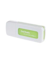Кардридер универсальный 4в1 MERLION CRD-5GR TF - Micro SD, USB2.0, Green, OEM Q50