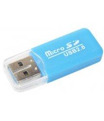 Кардридер универсальный MERLION CRD-1BL TF - Micro SD USB2.0 Blue OEM Q100