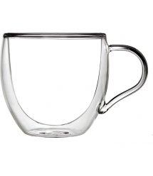 Набор чашек с ручками Ardesto с двойными стенками, 300 мл, H 9,2 см, 2 шт, боросиликатное стекло