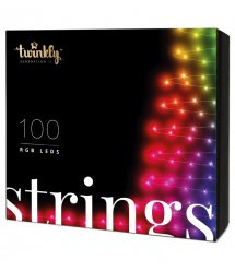 Twinkly Smart LED Гирлянда Twinkly Strings RGB 100, BT+Wi-Fi, Gen II, IP44, кабель черный