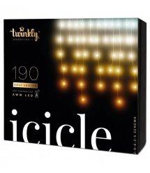 Twinkly Smart LED Гирлянда Twinkly Icicle AWW 190, BT+Wi-Fi, Gen II, IP44, кабель прозрачный