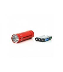 Карманный фонарик, 9LED, 1 режим, корпус- алюминий, питание 2*АА, 81*20мм, Red, ОЕМ