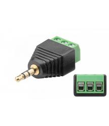 Разъем для подключения питания miniJack 3.5 Stereo (3 контакта) с клеммами под кабель Q100