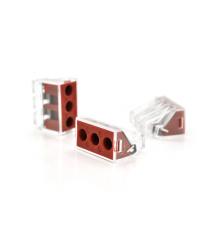 Клемма с зажимом 3-проводная WAGO K773-173 для распределительных коробок, 3-pin, прозрачно-красная