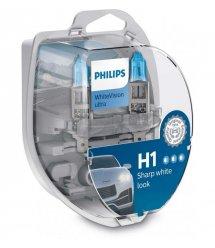 Лампа галогенная Philips H1 WhiteVision Ultra +60%, 3700K, 2шт/блистер