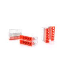 Самозажимная 5-проводная клемма WAGO К773-205, 5-pin, прозрачно-красная