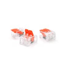 Клемма с нажимными зажимами 2-проводная PROinstal K221-412 для распределительных коробок, 2-pin, прозрачно-оранжевая