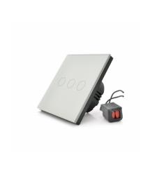 Сенсорный выключатель без заземления + WiFi управление, трехканальный, белый, 86х86х35мм