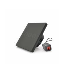 Сенсорный выключатель без заземления + WiFi управление, трехканальный, черный, 86х86х35мм