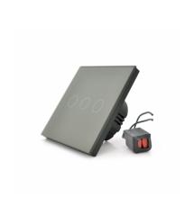 Сенсорный выключатель без заземления + WiFi управление, трехканальный, gray, 86х86х35мм