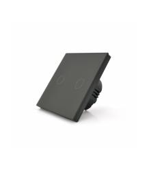 Сенсорный выключатель с заземлением + WiFi управление, двухканальный, черный, 86х86х35мм
