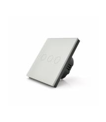 Сенсорный выключатель с заземлением + WiFi управление, трехканальный, белый, 86х86х35мм